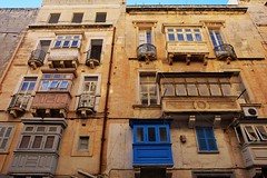 Malta Streets (Douguerreotype) Tags: window city balcony buildings malta architecture valletta urban