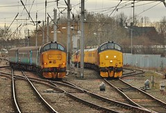 DRS Class 37 No. 37402 & Colas No. 37421 at Carlisle - 14th March 2018 (allan5819 (Allan McKever)) Tags: drs class37 37099 37421 37402 diesel loco carlisle cumbria uk england transport travel station citadel city passenger testtrain networkrail northernrailways mainline