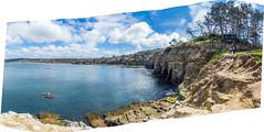 La Jolla Cove (mon_ster67) Tags: california coastline ocean panorama panoramic lajolla lajollacove coast cacoast socal mon ©mon canon canoneos7dmarkll kayak kayaking holiday sunny water