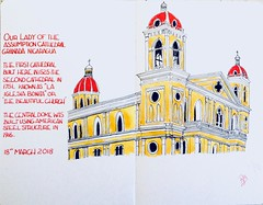 Granada Cathedral Nicaragua (oxlade134) Tags: church eglise iglesia catedral cathedral nicaragua granda ourladyoftheassumption pen ink watercolour watercolor