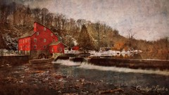 The Old Red Mill (socalgal_64) Tags: clintonnj carolynlandi mill redmill theredmillmuseum museum history historical historicalsite old antique waterfall dam wheel newjersey usa landscape snow winter cold texture befunky river rocks forest woods stark landmark texturebybefunky coth coth5