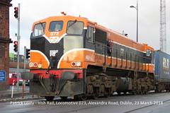 Irish Rail, Locomotive 073, Alexandra Road, Dublin, 23 March 2018 (Shamrock 105) Tags: irishrail iarnrodeireann 071class gm generalmotors dublin alexandraroad iwt internationalwarehousingtransport eastwallroad northwallfreightdepot retrolivery cie 073 locomotive
