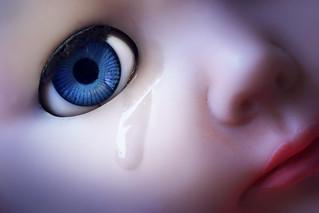 Tears in her eyes. She got the blues.