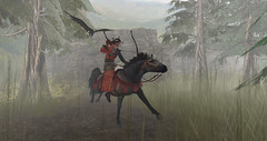 The Hunt (Commander Snoots) Tags: horse pony asian hunter second life sl art design lost spirits retreat game online jade coast hakuin clarity magnus commandersnoots hakuinclarity lostspirits jadecoast secondlife eagle asianstyle fantasy fog pine arrow bow archer yabusame equine horseback