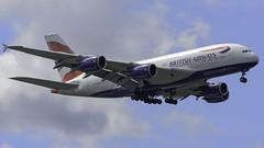 BOS 4-8-2018 British Airways G-XLEB Airbus A380-800 (jrc91saso) Tags: aviation travel photo airplane boston massachusetts unitedstates us kbos bostonlogan logan international airport nikon d500 70200 28 200mm arrival boeing airbus aerlingus british airways emirates delta airfrance