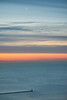 A sliver of moon. (bkkay1) Tags: chicago morning sunrise sky clouds water lake michigan moon breakwater beacon