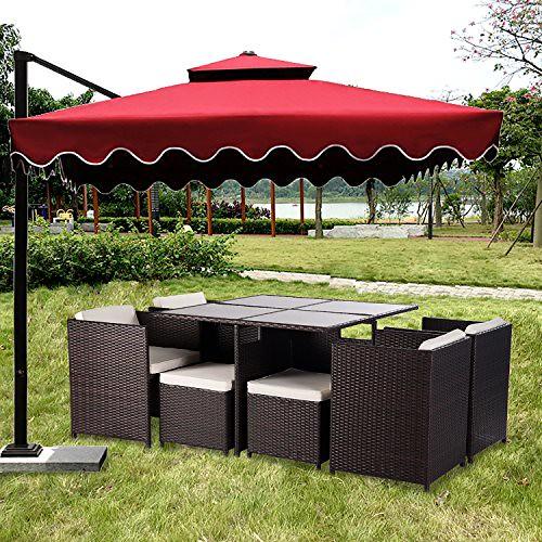 Merax 9-Piece Outdoor PE Rattan Wicker Patio Dining Table Set Garden Outdoor Patio Furniture Set Review