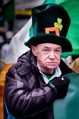Marcher St. Patrick's Day Parade Liverpool. (James- Burke) Tags: people oldman man parades stpatricksdayparade candidcandidportrait liverpool merseyside