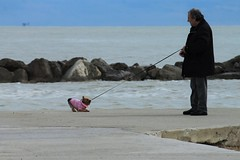 No !!! (N I C K ....1 8 2 8) Tags: dog cane mare sea spiaggia beach men yorkshireterrier nick 1828