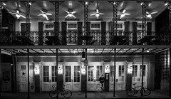 IMG_6183 (Anh Dang ^_^) Tags: us usa lousiana neworleans canon 6d monochrome bw blackandwhite balcony gallery story storey outdoor light fan bicycle manstanding front architecture building house downtown frenchquarter