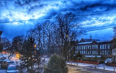 Beast from the East 2!!! ☃☃☃ (LeanneHall3 :-)) Tags: snow snowscene night nightshot nightphotography sky clouds talkativeclouds houses street streetlamps buildings maletlamberthighschool trees branches landscape canon 1300d blue cars green leaves
