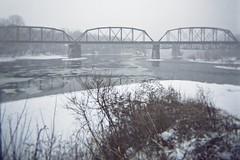 Holga - railroad bridge - img032 (T. Brian Hager) Tags: holgagcfn holga film analog color scanned cropped 120film 120 railroad railroadbridge snow river ice winter delawareriver lehighriver eastonpa epsonv600 epson