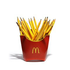 fries (brescia, italy) (bloodybee) Tags: frenchfries fries chips potato macdonalds mac brand logo fastfood junkfood food pencil stilllife humor fun red yellow white square
