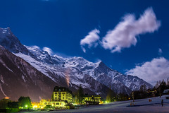 Moonlit night in Chamonix (Wolfhowl) Tags: chamonixvalley france frenchalps brevent landscape winter chamonixmontblanc mountains buildings cityscape франція town snow clouds night savoy 12am alpinemountains march travel forest alps spring шамоні montblancmassif montblanc europe chamonix mountain