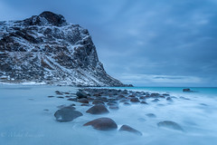 Morning blues (Mika Laitinen) Tags: canon5dmarkiv europe lofoten norway norwegiansea scandinavia uttakleiv beach blue cloud cold dawn landscape longexposure mountain nature ocean outdoors rock sea seascape shore sky snow sunrise water winter nordland no
