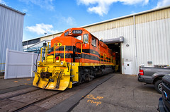 Warehouse Wide (Wheelnrail) Tags: bp bprr wyoming emd locomotive railroad rail road pa pennsylvania warehouse industrial street running genesee orange white november jsp