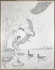 TheLake (Alex Hiam) Tags: ballet dancer degas girl marie pose balance landscape lake tree goose geese drawing sketch pen ink illustration childrens book