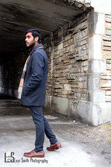 Abhi (Levi Smith Photography) Tags: man men mens fashion mans clothing scarf pants coat jacket winter shoot bridge rock stone walking beard indian south asian tan portrait handsome guy hot