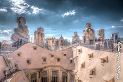 "Casa Milà ""La Pedrera"" rooftop, Barcelona (cee live) Tags: spain barcelona casa mila pedrera gaudi rooftop sunny clouds architecture chimneys flickr canon"