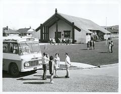 Tourists at Waiwhetu Maori Meeting House, Lower Hutt (Archives New Zealand) Tags: archivesnewzealand archives archivesnz nationalpublicitystudios aotearoa tourism newzealand newzealandhistory nz nzhistory history