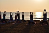 Welcoming the morning… (Joy lens) Tags: welcoming morning yoga sea beach man woman sunlight india
