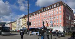 Arnulfstrasse (jrw080578) Tags: bus road buildings flag germany deutschland munich münchen bavaria bayern