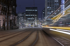 Close encounters! (andyrousephotography) Tags: manchester midlandhotel stpeterssq metrolink interchange trams rushhour lines thunder rumble lighttrails streaks streetlamps starbursts longexposure