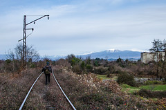 Guy going by rail to the mountains (ivan_volchek) Tags: outdoors landscape travel visiting nature sky tree grass tourism industry summer environment mountain cloud daylight rock remote mountains railway