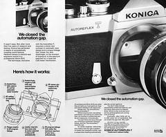 "Konica Autoreflex-T camera advertisement. (Jerry Vacl) Tags: advertisement bw photomagazine 1969september""popularphotography""magazine camera slr konicaautoreflext nikond7200 micronikkor40mmf28gdx"