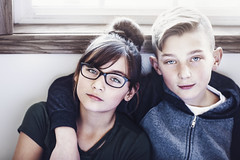 11 (Rebecca812) Tags: twins girl boy portrait canon people eyeglasses childhood tween preteen window serious brother sister family confident eyecontact rebeccanelson rebecca812