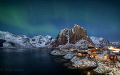 Night at Hamnøy (Mika Laitinen) Tags: canon5dmarkiv europe lofoten norway norwegiansea reine scandinavia auroraborealis colorful landscape longexposure ocean outdoors redcabin rock sea shore sky snow water winter nordland no northernlights stars night hamnøy