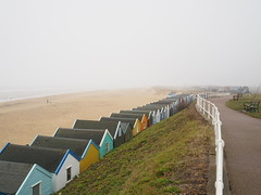 A misty day in Southwold Suffolk (Simon Ross Photos) Tags: beachhuts southwold suffolk mist sea olympus penf 2018