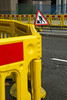 Roadworks (jimj0will) Tags: roadworks fence fencedfriday yellow red plastic sign triangle warning