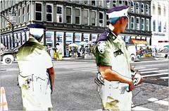 Crossroads (Steve Lundqvist) Tags: new york usa states united america manhattan stati uniti travel trip viaggio model urban city urbanscape ny nyc persone light mood fujifilm x100s streetphotography path solarization solarize photoshop effect editing nypd traffic busy rush police policeman cop cops