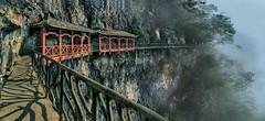 Ghost Valley Walkway 鬼谷栈道 (lfeng1014) Tags: ghostvalleywalkway 鬼谷栈道 zhangjiajie zhangjiajienationalforestpark hunan china panorama cliffhangingwalkway ghostvalleyplankroad mountain pagoda travel lifeng landscape landmark misty china'stopninehorrorlocations