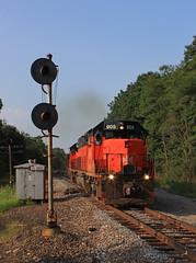 SX South (GLC 392) Tags: ble bessemer lake erie 905 908 901 sx south saxonburg pa pennsylvania search light signal smoke u702 u70261 iron ore train bessy railroad railway tree trees rail emd sd403 sd40t3 tunnel motor