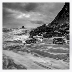 Saltwick bay (mkleinhout) Tags: blackwhite delta100 film analouge analoge hasselblad 503cw 50mmfefle ilford seascape landscape cliff