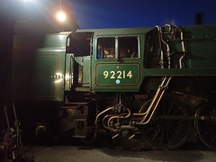 Great Central Railway Loughborough Leicestershire 29th March 2018 (loose_grip_99) Tags: great central railway railroad rail train loughborough shed depot mpd leicestershire eastmidlands england uk steam engine locomotive britishrailways standard 9f 2100 92214 gassteam uksteam trains railways march 2018 night nighttime