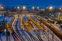 Přerov, 21.01.2018 (miroslav.volek) Tags: snow nigth lines trains coach platform rail engine city prerov dron traffic huge light