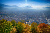 Fall in Grenoble, France (` Toshio ') Tags: toshio grenoble france bastille fort mountain trees autumn fall leaves city overview mountains europe european europeanunion french fujixt2 xt2 roads streets mountainrange