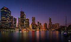 Brisbane City Lights Reflected (mark.iommi) Tags: kangaroopoint queensland australia au brisbane brisbaneriver dusk sunset citylights reflections