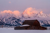 Moulton Barn Winter Morning (Frigid Light Photography) Tags: 1442mmf35 grandtetonnationalpark moultonbarn moultonbarnsunrise nationalpark olympuse510 sunrise tetonrange moose wyoming unitedstates us