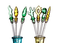 Swizzle Sticks (Karen_Chappell) Tags: glass white green yellow swizzlestick stilllife product shapes