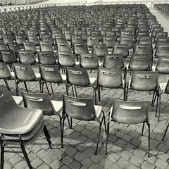 Deserted (Bernhardt Franz) Tags: deserted menschenleer chairs stühle stuhlreihen blackandwhite bw vatikan vatican rome rom roma petersplatz floor pattern olympus