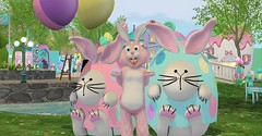 Happy Easter! (Spanky SL) Tags: bunny rabbit holiday easter pink blue white yellow water balloon cute fuzzy black green grass secondlife town sl flickr fence eggs ribbon bow funny new old purple foxcity pose photo picture portrait