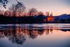 Good night, winter (Pavel Cervenka Photographer) Tags: velehrad southmoravia lake reflect winter evening softlight nature magical canon eos100d ef50 czechrepublic pavelcervenka frozen ice sunset water basilica architecture dusk