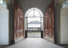 Villa Stresa (Sean M Richardson) Tags: abandoned villa mansion view italy italia symmetry mountains lake decay details derelict detail decayed design architecture canon eos texture exploration explore urbex travel photoshop flickr color colour colorful brown green yellow black white contrast shadows ruins ruinas europe old classic historic interior ornate perspective digital doors light bright lines leading landscape vibrant beautiful building