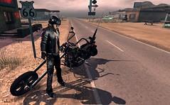 Easy Rider (Sadwolf SL Photos) Tags: motherroad zoom noctis addams breakout or optmusrace bike easyrider leatherjacket helmet biker shades sunglasses cigarette road66 desert shadow chopper