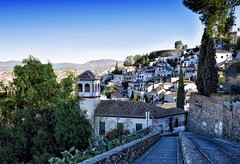 Blue Morning (Jocelyn777) Tags: architecture road street wall buildings stone landscape cityscape trees foliage mountains albaicin granada andalucia spain travel