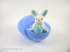 Little Easter Egg Bunny in Egg (Quernus Crafts) Tags: easter bunny happyeaster polymerclay quernuscrafts cute easteregg egg blue